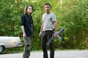 Tovah Feldshuh as Deanna Monroe and Andrew Lincoln as Rick Grimes - The Walking Dead _ Season 6, Episode 1 - Photo Credit: Gene Page/AMC