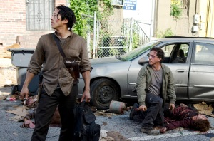 Steven Yeun as Glenn Rhee and Michael Traynor as Nicholas - The Walking Dead _ Season 6, Episode 3 - Photo Credit: Gene Page/AMC