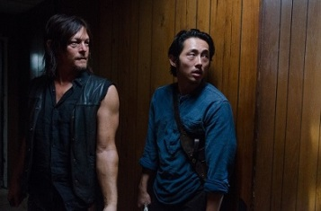 Norman Reedus as Daryl Dixon and Steven Yeun as Glenn Rhee - The Walking Dead _ Season 6, Episode 11 - Photo Credit: Gene Page/AMC