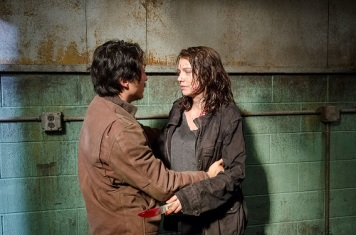 Steven Yeun as Glenn Rhee and Lauren Cohan as Maggie Greene - The Walking Dead _ Season 6, Episode 13 - Photo Credit: Gene Page/AMC