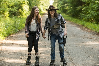 Katelyn Nacon as Enid, Chandler Riggs as Carl Grimes - The Walking Dead _ Season 7, Episode 5 - Photo Credit: Gene Page/AMC