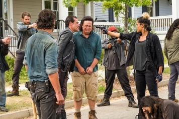 Andrew Lincoln as Rick Grimes, Jeffrey Dean Morgan as Negan, Josh McDermitt as Dr. Eugene Porter, Christian Serratos as Rosita Espinosa, Elizabeth Ludlow as Arat - The Walking Dead _ Season 7, Episode 8 - Photo Credit: Gene Page/AMC