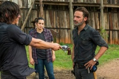 Norman Reedus as Daryl Dixon, Alanna Masterson as Tara Chambler, Chandler Riggs as Carl Grimes, Andrew Lincoln as Rick Grimes - The Walking Dead _ Season 7, Episode 8 - Photo Credit: Gene Page/AMC