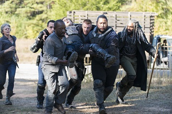 Melissa McBride as Carol Peletier, Lennie James as Morgan Jones, Khary Payton as Ezekiel, Carlos Navarro as Alvaro, Cooper Andrews as Jerry, Daniel Newman as Daniel  - The Walking Dead _ Season 7, Episode 13 - Photo Credit: Gene Page/AMC