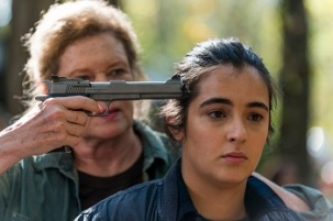 Alanna Masterson as Tara Chambler, Deborah May as Natania - The Walking Dead _ Season 7, Episode 15 - Photo Credit: Gene Page/AMC