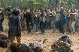Andrew Lincoln as Rick Grimes, Chandler Riggs as Carl Grimes, Seth Gilliam as Father Gabriel Stokes, Nicle Barre as Kathy, Sydney Park as Cyndie, Kenric Green as Scott- The Walking Dead _ Season 7, Episode 15 - Photo Credit: Gene Page/AMC