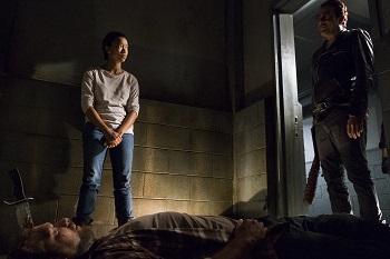 Sonequa Martin-Green as Sasha Williams, Jeffrey Dean Morgan as Negan, Joel Martinez as David- The Walking Dead _ Season 7, Episode 15 - Photo Credit: Gene Page/AMC