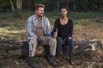 Sonequa Martin-Green as Sasha Williams, Michael Cudlitz as Sgt. Abraham Ford - The Walking Dead _ Season 7, Episode 16 - Photo Credit: Gene Page/AMC