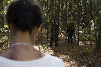 Lauren Cohan as Maggie Greene, Tom Payne as Paul 'Jesus' Rovia, Sonequa Martin-Green as Sasha Williams - The Walking Dead _ Season 7, Episode 16 - Photo Credit: Gene Page/AMC